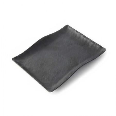 Fuente rectangular ondulada de melamina Terral negra - ADRIER
