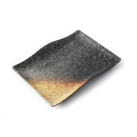 Fuente rectangular ondulada de malamina Terral lava volcanica - ADRIER